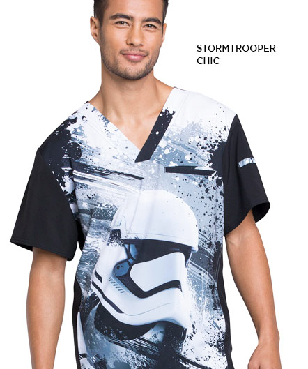 men star wars stormtrooper print scrub top